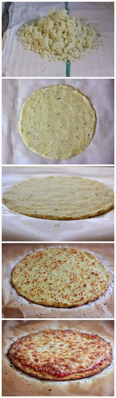 "The BEST Cauliflower Crust Pizza. I'd be willing to try this. Who knew you could make paleo friendly ""pizza crust"""