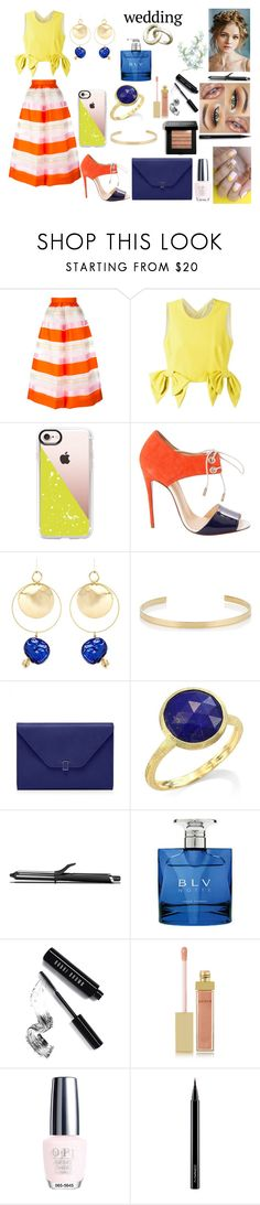 """""""Color"""" by nicks-1 ❤ liked on Polyvore featuring Delpozo, MSGM, Casetify, Christian Louboutin, Mounser, Jennifer Fisher, Marco Bicego, GHD, Bulgari and Bobbi Brown Cosmetics"""