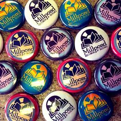 """Custom 1"""" pins we did for the awesome folks at Millpond Records & Books."""