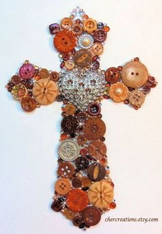 CHER CREATIONS- BROWN CROSS Button Art-8x10 white canvas-DIY OOAK & Bling!!! #Originaloneofakindart
