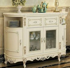 Marble Top Cabinet, Carved Solid Wood Sideboards