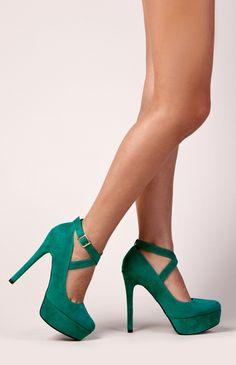 Emerald Criss Cross Platform Heels / qupid