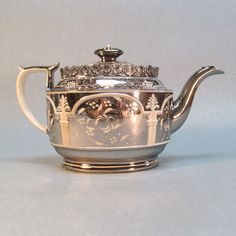 Silver Luster Resist Decorated Teapot ca. 1810   (Wasn't sure where this should go, but I liked it)