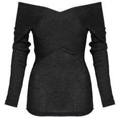 Choies Black Off Shoulder Wrap Long Sleeve Knit Jumper ($20) ❤ liked on Polyvore featuring tops, sweaters, black, black jumper, black sweater, black off shoulder sweater, off the shoulder long sleeve top and knit sweater