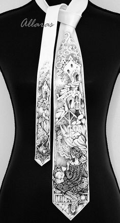 Black and white tie Etsy listing at https://www.etsy.com/listing/207669798/black-white-hand-painted-silk-tie-tea
