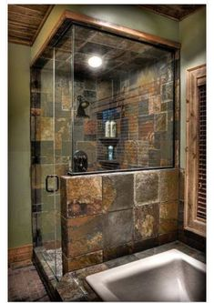 Dramatic Rustic Bathroom Design IDeas Bathroom design doesn't always must be bright and shiny. Rustic-style bathroom design also has variations that vary in line with the taste and persona. Cabin Bathrooms, Rustic Bathrooms, Dream Bathrooms, Luxury Bathrooms, Modern Bathrooms, Bathroom Renos, Master Bathroom, Bathroom Vanities, Bathroom Ideas
