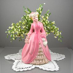 Victorian Lady in Pink Planter Figurine Styled Like Florence Ceramics Women Made in Japan Circa 1950s Cottage Chic Home Decor