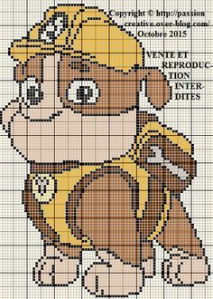 Cross Stitch For Kids, Cross Stitch Charts, Cross Stitch Designs, Cross Stitch Patterns, Plastic Canvas Christmas, Plastic Canvas Crafts, Plastic Canvas Patterns, Rubble Paw Patrol, C2c Crochet