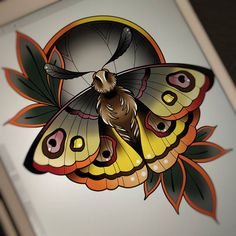 New Traditional Tattoo, Neo Traditional Art, Body Art Tattoos, Cool Tattoos, Watercolor Arrow Tattoo, Butterfly Sketch, Spooky Tattoos, Insect Tattoo, Tattoo Now