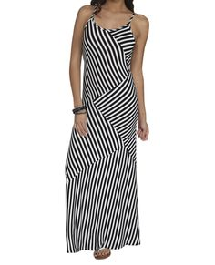 Spliced Stripe Maxi Dress -  Would be so cute with red shoes and accessories.