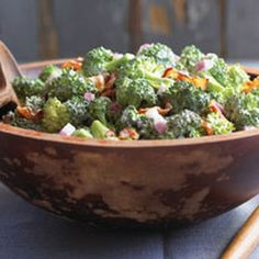 yup ... this is how i make it (minus the raisins and sunflower seeds)  BROCCOLI SALAD recipe