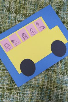 Use paper and paste to create a colorful collage of shapes that turns into a school bus right before your eyes.