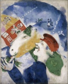marc zakharovich chagall(1887-1985), peasant life, 1925. oil on canvas, 100 x80 cm. albright-knox art gallery, buffalo, usa   http://www.albrightknox.org/collection/collection-highlights/piece:la-vie-paysanne-peasant-life-/