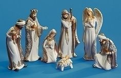 525 85 Set of 7 White and Gold Religious Nativity Porcelain Christmas Table Top Decorations *** Learn more by visiting the image link. (This is an affiliate link)