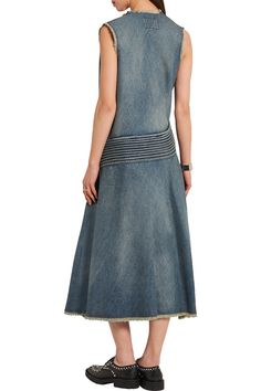 Shop on-sale Junya Watanabe Distressed denim midi dress. Browse other discount designer Dresses & more on The Most Fashionable Fashion Outlet, THE OUTNET.COM