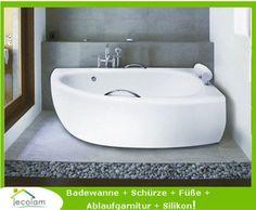 Baie Badewanne Wanne Eckwanne 150 x 70 cm Schürze Ablauf Silikon rechts MILENA