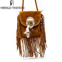 Для женщин PU кожаная сумка женская мода Сумки на плечо известный бренд Сумки через плечо с бахромой Для женщин Курьерские сумки Herald Мода