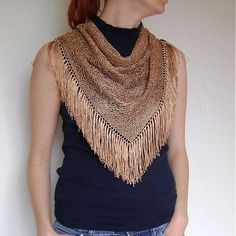 Copper Tassels Triangle Scarf / Hand Knitted Copper by RUKAMIshop