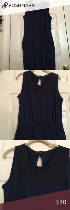 Gap dress New w/ tags gap dress navy w/ embroidery on front has pockets drawstring waist keyhole in back GAP Dresses Midi