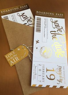 Shimmering Metallic Custom Boarding Pass Save the Dates