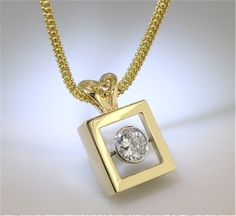 Square Chateau Pendant with diamond set on middle