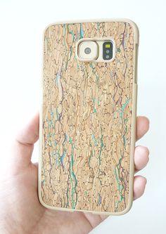Unique Modern Trendy Eco Friendly Cellphone Mobile case For Samsung Galaxy S6 Confetti Multicolor Wood Cork TPU Silicone Rubber Case handmade by Yunikuna