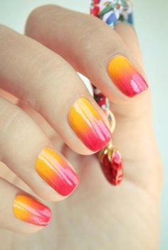 orange and red ombre nail art, fingernails, funky manicures. sorry, i have no idea where i got this from, if you know or if u own it please post the details.