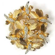 Boucher Swarm of Gold and Pave Bees Trembler Pin