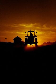 Tractor sunset