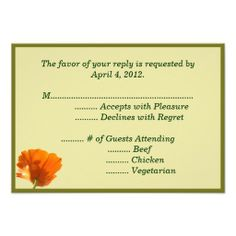 >>>The best place          Orange Poppy Reply Cards with Menu Options Personalized Invitations           Orange Poppy Reply Cards with Menu Options Personalized Invitations We have the best promotion for you and if you are interested in the related item or need more information reviews from th...Cleck Hot Deals >>> http://www.zazzle.com/orange_poppy_reply_cards_with_menu_options_invitation-161761422116762484?rf=238627982471231924&zbar=1&tc=terrest