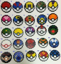 Pokemon Pokeballs Perler Bead Magnets by sackofwonders