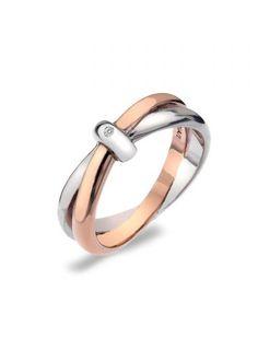 Hot Diamonds Eternity Silver & 18ct Rose Gold Vermeil Interlocking Ring