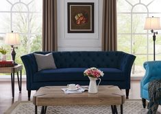 Mistana Gilmore Sofa & Reviews | Wayfair Tufted Sofa, Sofa Upholstery, Chesterfield Sofa, Cushions On Sofa, Online Furniture, Home Furniture, Furniture Ideas, Turquoise Couch, Chair Side Table