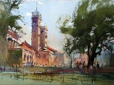 Watercolor by vijay achrekar. Watercolor Landscape, Watercolor And Ink, Landscape Paintings, Landscapes, Urban Painting, Art Society, Unique Buildings, Painting Workshop, Indian Artist