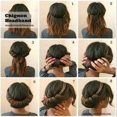 Chignon Headband Tutorial en foto. Para Cabello Corto