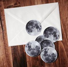 Full Moon Sticker Set Set of 6 Vinyl 2 Inch by MilkThistleIsland