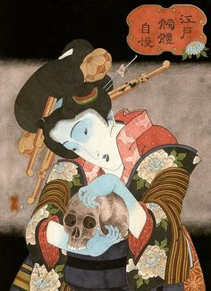 Hiroshi Hirakawa, Skull Woman blue around eyes, hands & feet typically indicate one is dying from either an illness or blood loss in many forms of Japanese art and media. Japanese Artwork, Japanese Painting, Japanese Prints, Japanese Mythology, Japanese Folklore, Japanese Illustration, Illustration Art, Japanese Monster, Japan Art