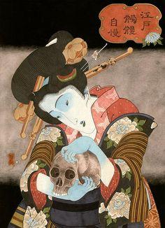 Hiroshi Hirakawa Japanese Artwork, Japanese Painting, Japanese Prints, Japanese Mythology, Japanese Folklore, Japanese Illustration, Illustration Art, Japanese Monster, Japan Art