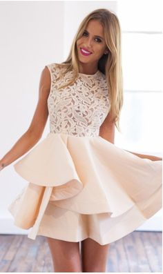Shop With Zipper Blush Lace Insert Flare Apricot Dress online. SheIn offers With Zipper Blush Lace Insert Flare Apricot Dress & more to fit your fashionable needs. Dresses Short, Prom Dresses 2018, Summer Dresses, Dress Prom, Party Dress, Dresses Dresses, Sleeveless Dresses, Cheap Dresses, Banquet Dresses
