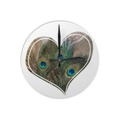 Peacock-Feather Double-Heart Clock #Clock