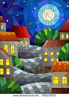 Illustration in stained glass style, urban landscape,roofs and trees against the starry sky and moon