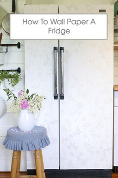 How To Wall Paper A Fridge via Ashlea of This Mamas Dance Nice Kitchen, Boho Kitchen, Kitchen Decor, Ugly Fridge, Home Crafts, Home Projects, Fridge Makeover, Peel N Stick Wallpaper, Pantry Ideas