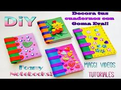 Decora tus cuadernos con foamy Felt Quiet Books, Polymer Clay, Notebook, Miniatures, Diy Crafts, Pattern, Google, Color Crafts, Decorated Notebooks