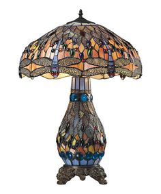 Loving this Bronze 26'' Dragonfly Tiffany Glass Table Lamp on #zulily! #zulilyfinds