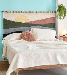 Shop Mountain Sunrise Headboard at Urban Outfitters today. We carry all the latest styles, colors and brands for you to choose from right here. Diy Wall Decor, Diy Home Decor, Bedroom Decor, Bedroom Headboards, Estilo Interior, Diy Bett, Bed Wall, My New Room, Urban Outfitters