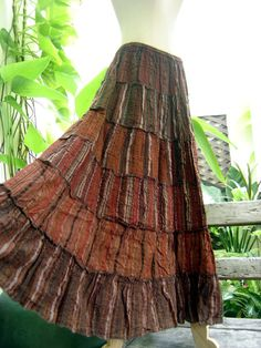 Woven Dyed Cotton Long Tiered Skirt  Brick Brown by fantasyclothes, $44.00