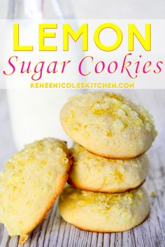 Lemon sugar cookies are lushly lemon and slightly sweet. Soft in the center with a crunchy lemon sugar top, they are best enjoyed with ice cold milk. Lemon Desserts, Lemon Recipes, Köstliche Desserts, Vegan Recipes Easy, Gourmet Recipes, Delicious Desserts, Dessert Recipes, Kitchen Recipes, Lemon Sugar Cookies
