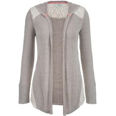 maurices Lightweight Hooded Cardigan With Lace ($32) ❤ liked on Polyvore featuring tops, cardigans, grey, gray cardigan, lace top, plus size cardigan, plus size lightweight cardigan and womens plus tops