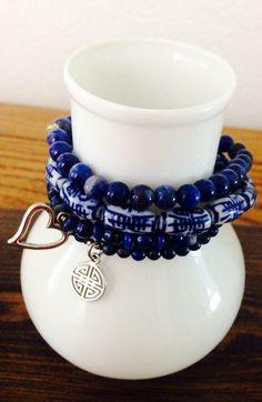 Blue mix: ceramic , lapis lazuli and sodalit beads. Order at: balmes.roxana@gmail.com