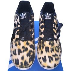 Pre-owned Adidas Zx Flux Sneakers Multi & Leopard Athletic Shoes ($150) ❤ liked on Polyvore featuring shoes, sneakers, leopard print shoes, adidas, adidas footwear, leopard sneakers and pre owned shoes